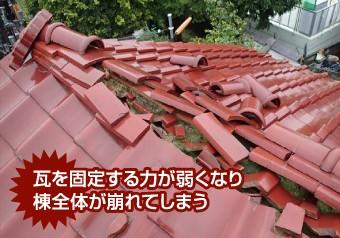 棟瓦の倒壊