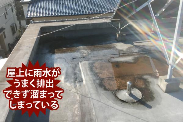 屋上に雨水がうまく排出できず溜まってしまっている