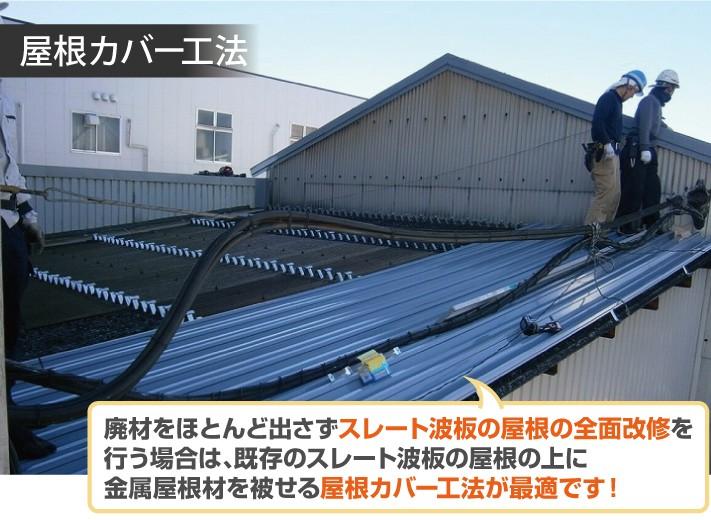 廃材をほとんど出さずスレート波板の屋根の全面改修を 行う場合は、既存のスレート波板の屋根の上に 金属屋根材を被せる屋根カバー工法が最適です!