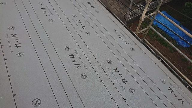 所沢市 若狭 屋根葺替え工事 下葺き(ルーフィングシート施工)作業