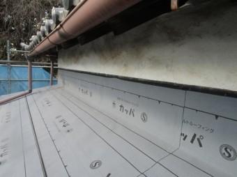 入間市宮寺 和型の瓦屋根 新東「極」瓦葺き替え工事 壁取り合い防水
