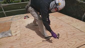 所沢市北中 セキスイかわらU屋根 葺き替え工事 野地板施工