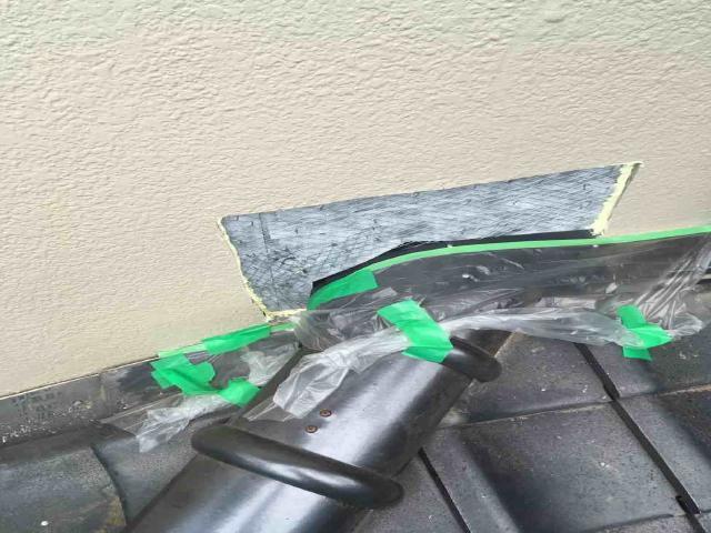 所沢市上新井 棟取り直し 丸棟取付 壁との取り合い 左官補修 ラス網