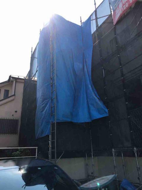 所沢市 小手指元町 屋根カバー 外壁塗装 高圧洗浄 養生作業 (25)