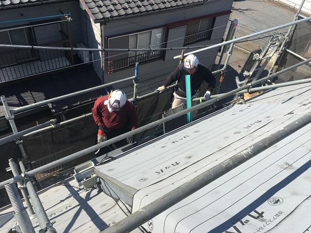 所沢市和ケ原 屋根カバー、天窓撤去、外壁塗装工事 屋根カバー工事 改質ゴムアスルーフィング施工