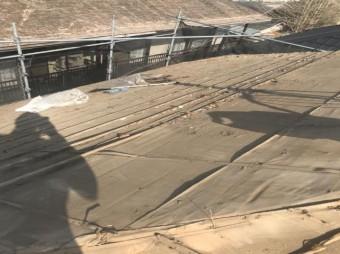 屋根瓦撤去後清掃