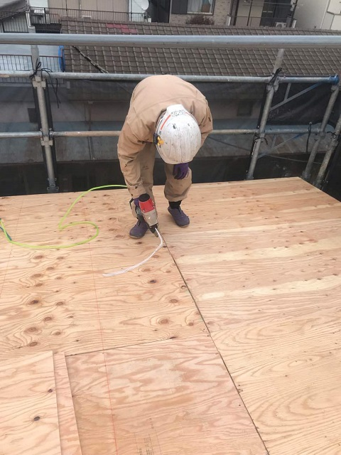 所沢市 松郷 屋根葺き替え 野地板施工