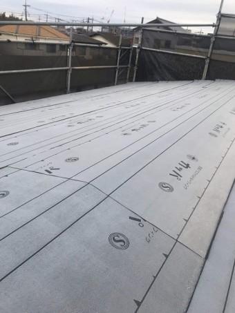 所沢市 松郷 屋根葺き替え ルーフィングシート施工