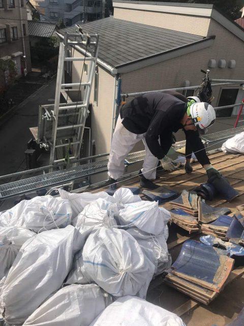 所沢けやき台 屋根解体 瓦