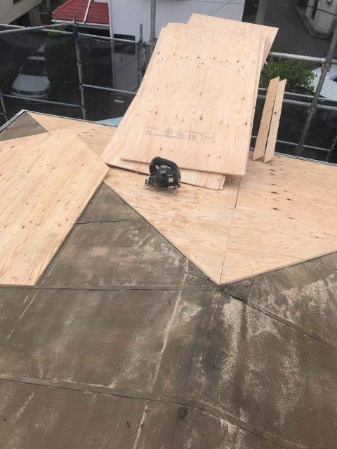 所沢けやき台 屋根下葺き 野地板補修