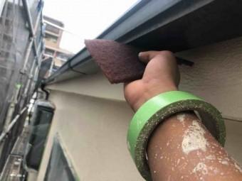 所沢市 東所沢 付帯部塗装 雨樋塗装作業 (6)