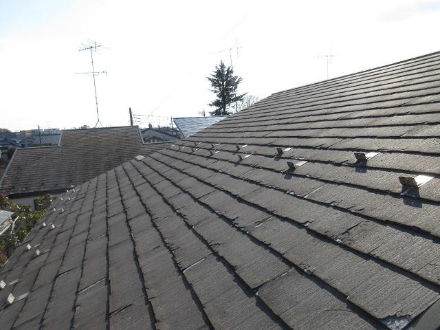 東京都 東村山市 屋根・外壁リフォーム 現地調査 スレート屋根のひび割れ確認