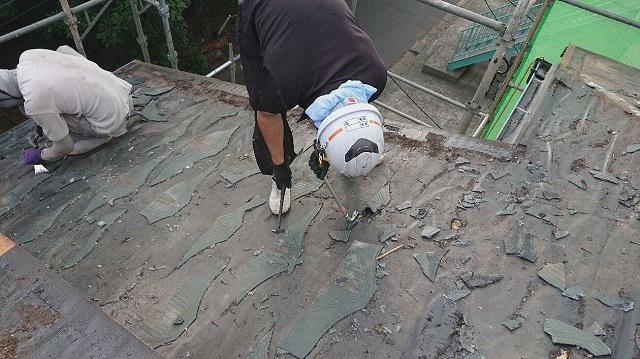 所沢市若狭 屋根葺き替え工事 既存スレート屋根 剥がし