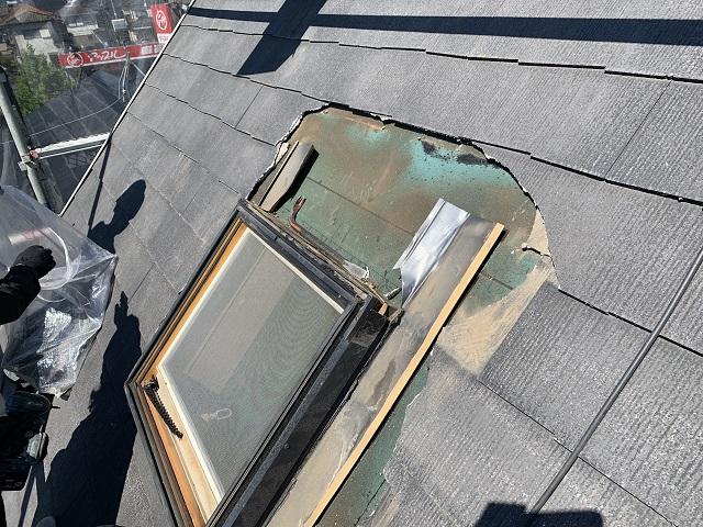所沢市和ケ原 屋根カバー、天窓撤去、外壁塗装工事 天窓撤去作業