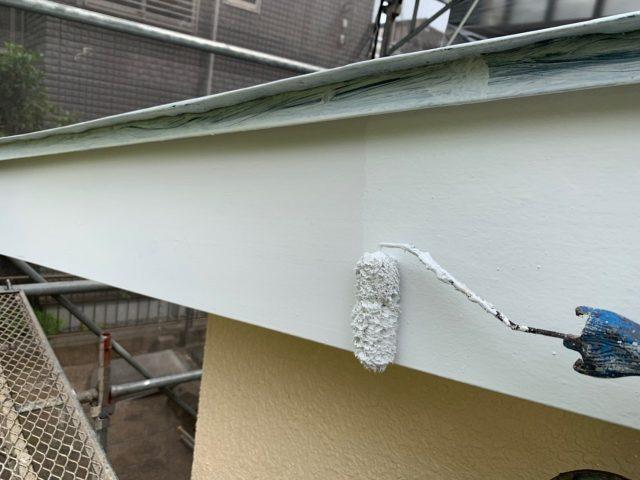 東京都東大和市 屋根葺き替え、外壁塗装工事 付帯部塗装 軒天塗装