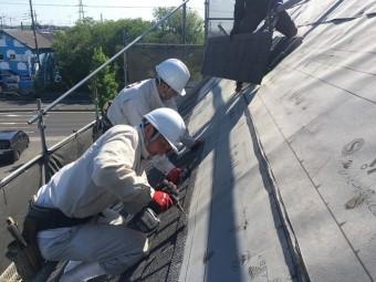 所沢市和ケ原 屋根カバー、天窓撤去、外壁塗装工事 屋根材セネター施工