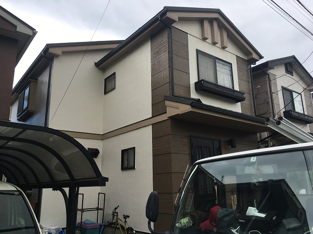 東京都 東村山市 屋根カバー工事 外壁塗装作業 付帯部塗装 ベランダ塗装 施工後2