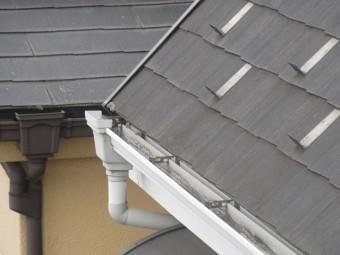 所沢市和ケ原 屋根カバー工事、外壁塗装、ベランダ防水工事 現地調査 雨樋の劣化