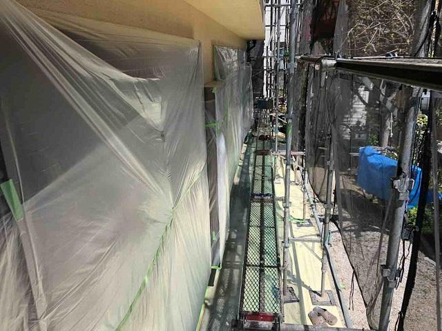 所沢市 西狭山ケ丘 外壁塗装前の養生作業