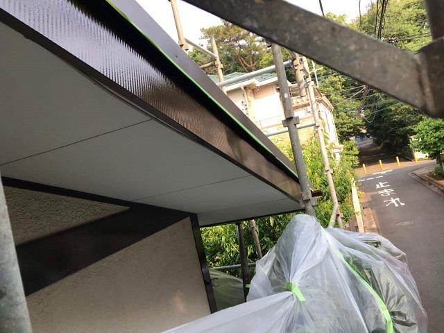 所沢市若狭 屋根葺き替え・カバー工事 付帯部塗装 破風・雨樋塗装作業