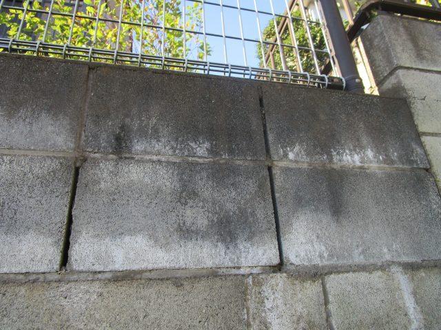 所沢市山口 現地調査 劣化したブロック塀