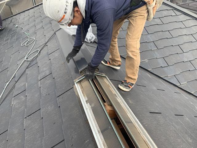 セネター屋根カバー工法 既存換気棟撤去