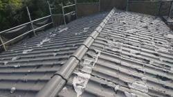 所沢市北中 セキスイかわらU屋根 葺き替え工事 立平スタンビー 施工前