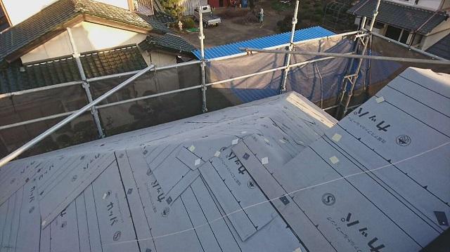 所沢市北野南 屋根カバー、外壁塗装工事 防水ルーフィングシート施工
