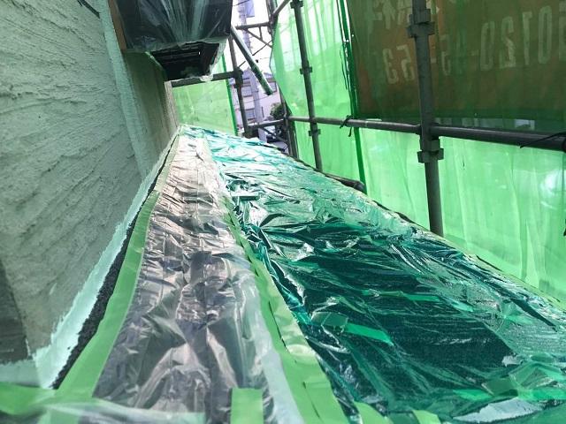 東京都 東村山市 屋根カバー工事 外壁塗装 養生作業