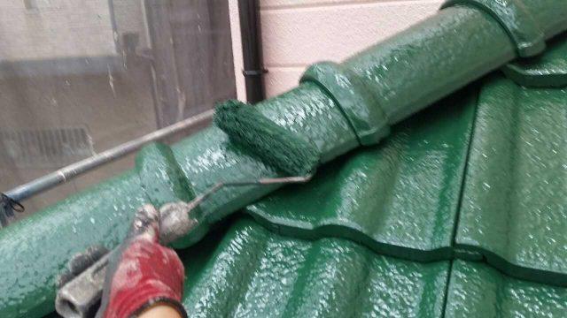 狭山市広瀬台 屋根・外壁塗装 屋根塗装作業 (3)