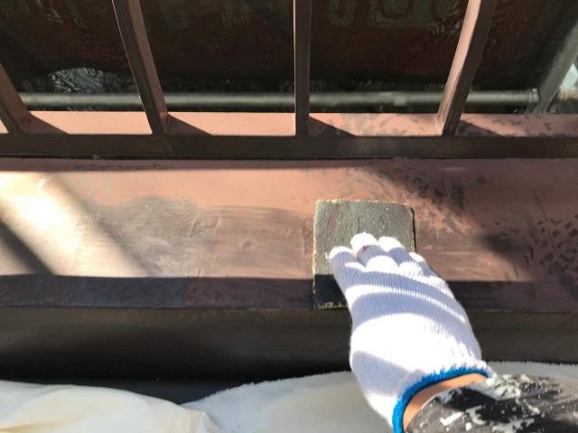 所沢市 北野南 付帯部塗装 ケレン作業