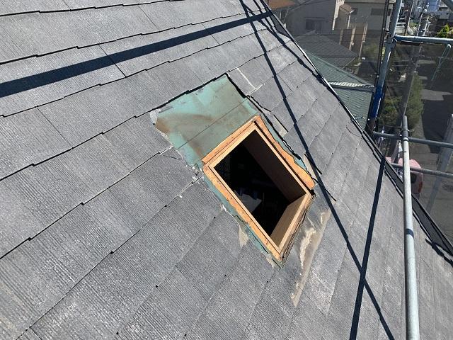 所沢市和ケ原 屋根カバー、天窓撤去、外壁塗装工事 天窓枠撤去後