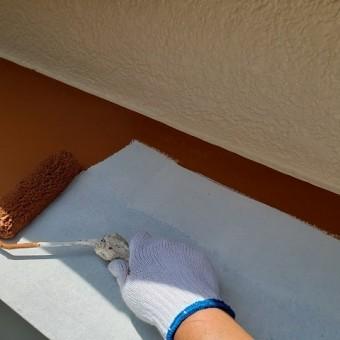 東京都東大和市 屋根葺き替え、外壁塗装工事 霧除け塗装1