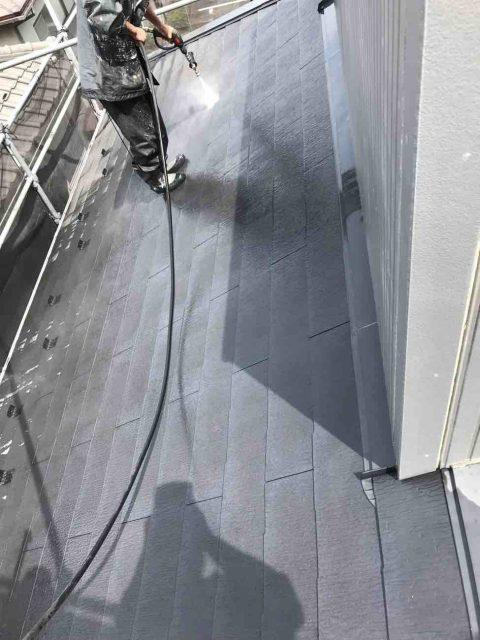 狭山市南入曽 屋根塗装・外壁塗装 高圧洗浄作業 (18)