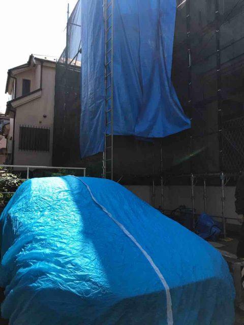 所沢市 小手指元町 屋根カバー 外壁塗装 高圧洗浄 養生作業 (26)
