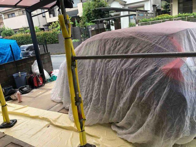 所沢市 東所沢 屋根・外壁塗装 養生作業 (6)