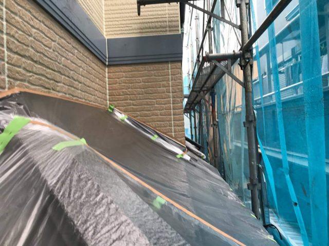 所沢市東所沢 屋根カバー、外壁塗装工事 塗装前養生作業 (6)