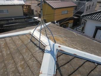 狭山市笹井 屋根カバー、葺き替え工事 外壁塗装 現地調査 スレート屋根の劣化