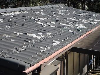 所沢市北中 セキスイかわらU屋根 葺き替え ボロボロの屋根