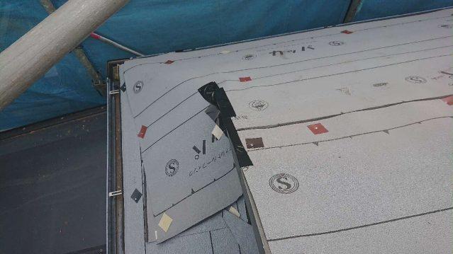 所沢市 東所沢 屋根カバー、外壁塗装工事 防水ルーフィングシート施工1 (4)