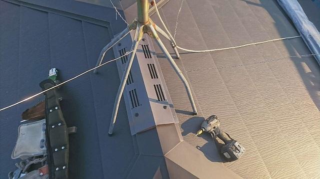 狭山市笹井 屋根カバー、葺き替え工事 外壁塗装 スーパーガルテクト施工 換気棟