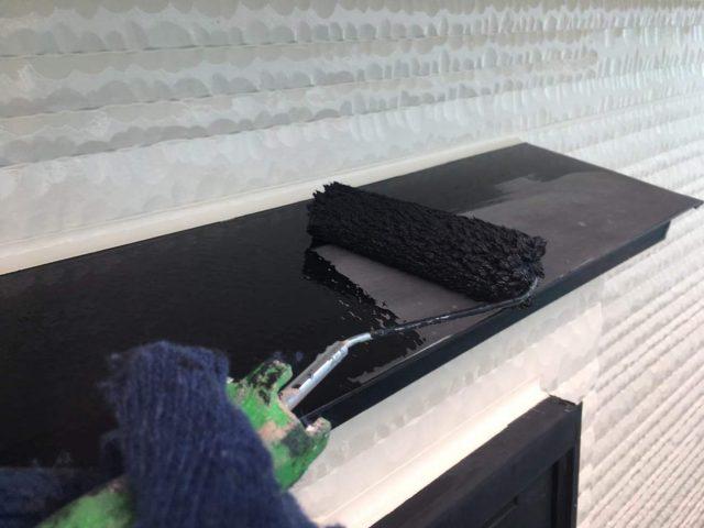 所沢市東所沢 屋根カバー、外壁塗装工事 付帯部塗装 破風、霧除け、雨樋塗装工事 (9)
