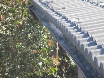 所沢市北中 セキスイかわらU屋根 葺き替え工事 現地調査 雨樋の歪み