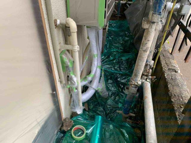 所沢市 上新井 屋根・外壁塗装 養生作業 (7)