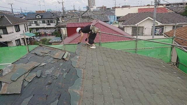 所沢市若狭 屋根葺き替え工事 既存スレート屋根 剥がし2