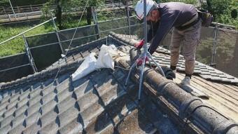 東京都東大和市 屋根葺き替え、外壁塗装工事 既存瓦屋根材剥がし3