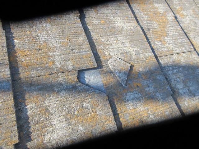 狭山市笹井 屋根カバー、葺き替え工事 外壁塗装 現地調査 スレート屋根の破損