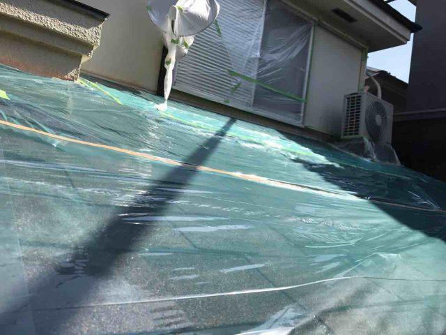 所沢市 小手指元町 屋根カバー 外壁塗装 下塗り 、養生作業