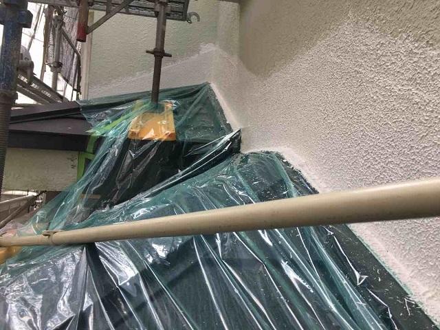 所沢市 北所沢 フッ素樹脂塗料による外壁塗装 養生作業